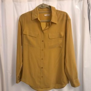 Mustard silk Equipment blouse- perfect for fall!